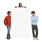 Happy People Showing Billboard Stock Image