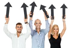 Happy people showing up black arrows isolated Royalty Free Stock Photos