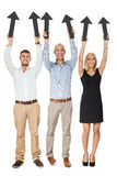 Happy people showing up black arrows isolated Stock Images