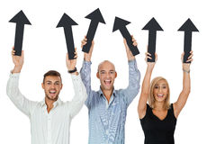 Happy people showing up black arrows isolated Stock Image