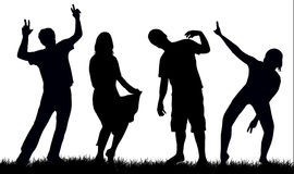 Happy people silhouettes Royalty Free Stock Photography