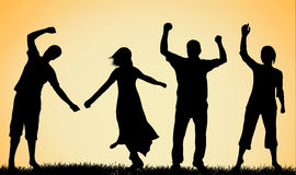 Happy people silhouettes Stock Photo