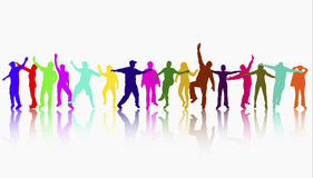 Happy people silhouettes Royalty Free Stock Images