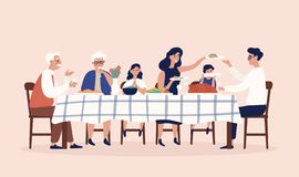 Happy people sitting at table, eating holiday meals, drinking wine and talking to each other. Family Christmas or. Thanksgiving dinner or supper. Colorful royalty free illustration