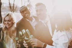 Enjoy. Alcoholic Beverage. Company. Young People. royalty free stock images