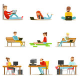 Happy People Spending Their Time Using Computer Collection Of Vector Illustrations  Royalty Free Stock Images