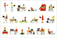 Happy People Spending Their Time Using Computer Set Of Vector Illustrations With Men And Women Using Modern Technology Royalty Free Stock Photo