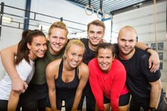 Happy People Standing Together At Cross Training Royalty Free Stock Photography
