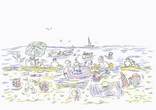 Happy people are swimming in the sea.Children in the sand.Beautiful editable vector illustration. Friends summer day are resting on the beach by the sea. Women vector illustration