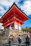 Happy People taking pictures and visiting the iconic Kiyomizu-dera buddhist temple in Kyoto. Kyoto, Japan - November 2, 2018: Happy People taking pictures and stock photo
