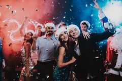 Happy People Taking Selfie on New Year Party. royalty free stock photo
