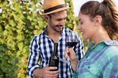 People tasting wine in vineyard Royalty Free Stock Photography