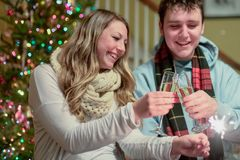 Happy people toasting champagne stock image