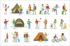 Happy People Traveling And Having Camping Trips Set Of Flat Cartoon Tourists Characters Stock Photo