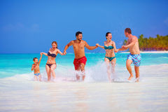 Happy people on vacation at tropical island royalty free stock photos