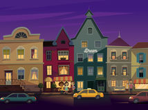 Happy people walking around City street at Night. Street lights in the night. Doors and windows boutiques, shops. Cars and taxi on a road. Vector stock illustration