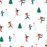 Happy people. Winter scene. Seamless pattern Stock Images