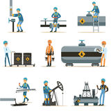 Happy People Working In Oil Industry Collection Of Cartoon Characters Working At The Pipeline And Petroleum Extraction Royalty Free Stock Photos