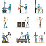 Happy People Working In Oil Industry Set Of Cartoon Characters Working At The Pipeline And Petroleum Extraction Stock Image