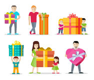 Happy Peoples with Gifts Flat Design Vectors Set. Happy peoples with presents. Smiling man, woman, kids, family standing with big gift box decorated ribbon and Stock Image