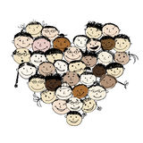 Happy peoples, heart shape for your design Stock Photography
