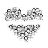 Happy peoples, heart shape for your design Stock Image