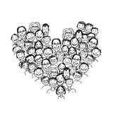 Happy peoples, heart shape for your design Royalty Free Stock Image