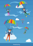 Happy Peoples Plans with Parachutes Royalty Free Stock Image