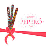 Happy Pepero Day poster. Happy Pepero Day. Pepero card design template with South Korean chocolate sticks and bow. Assorted biscuits covered with chocolate and Stock Photo