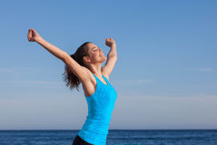Happy person arms raised. Outstretched Stock Photos