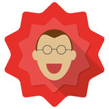 Happy person with glassess. Happy person with glasses illustration on red background Stock Photography