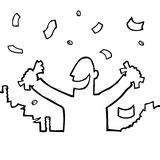 Happy person with lots of money. Black and white illustration of a happy person with money raining down on him Stock Photo