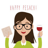 Happy Pesach (Passover) flat design woman with traditional matzoh and wine. EPS 10 vector royalty free stock illustration for greeting card, ad, promotion stock illustration