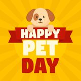 Happy pet day concept background, flat style stock illustration