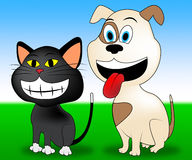 Happy Pets Indicates Domestic Cat And Animal Stock Photo