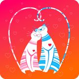 Happy pets love greeting card. Two happy striped cats sitting together. Colorful illustration. Valentine's day artistic greeting card Stock Photos