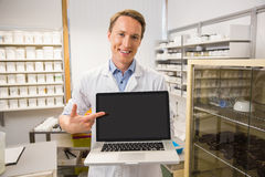 Happy pharmacist showing laptop screen. At the hospital pharmacy royalty free stock photo