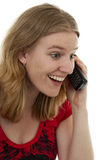 Happy on the phone Royalty Free Stock Photography