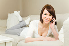 Happy on the phone Royalty Free Stock Image