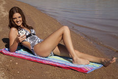Happy phone beach Royalty Free Stock Photography