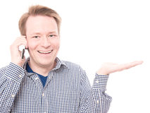 Happy phone call presents Royalty Free Stock Photo