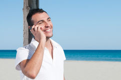 Happy phone discussion Stock Images