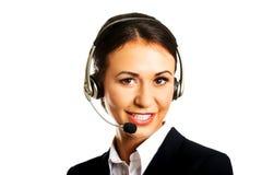 Happy phone operator in headset Stock Image