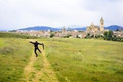 Happy Photographer because of Beautiful Toledo Panorama Royalty Free Stock Photo