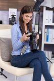 Happy photographer girl with camera Royalty Free Stock Photo