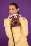 Happy photographer with vintage camera Royalty Free Stock Image