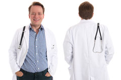 Happy physician, front and back Stock Photos