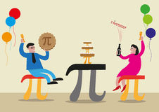 Happy Pi Day concept. People are celebrating with Pi Greek Letter symbol made as chairs, food and tables. Editable Clip Art. Stock Image