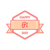 Happy Pi day greeting emblem Stock Photos