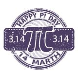 Happy Pi day rubber stamp isolated on white background. 14 march world mathematical holiday event label, greeting card decoration stock illustration